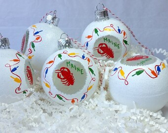Christmas Ornament, Maine Lobster and buoys on glass Snowball ornament