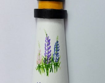 """Lighthouse Lupine Magnet, miniature collectible,  Coastal Nautical Decor Home Accent, 2 3/4"""" tall"""