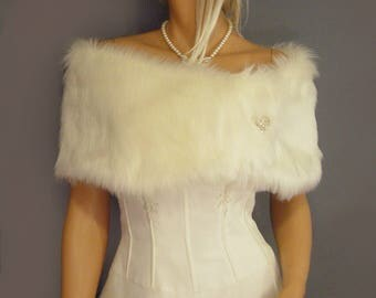 faux fur shrug stole bridal wrap wedding capelet in Angora bridesmaid cover up evening fur topper FW200 AVL in ivory and 3 other colors