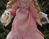 """Unusual 8"""" German Bisque Mignonette Doll With Wood Body"""