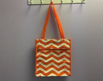 Personalized Orange Chevron Square Tote Bag