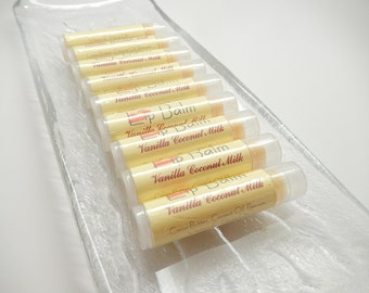 Lip Balm. Vanilla Coconut Milk, All natural, vegan, Lip balms, chapstick  .15 oz. each tube - stocking stuffers, bridal gifts