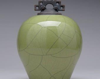 Ceramic lidded jar,urn, olive green Raku Jar with lid,large urn, large jar, art pottery,wheel thrown,handmade