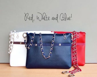 Patriotic Navy Blue Polka Dot Shoulder Bag, Vegan Crossbody Bag, Faux Leather Handbag with Silver Chain Strap, Red white and blue, July 4th