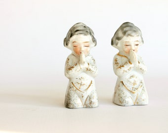 Vintage Porcelain Praying Children Figurine Set Takiya Japan Kids Room Decor