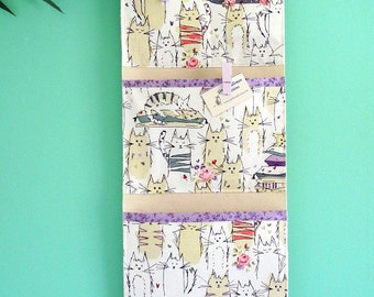 Wall or Door Hanging Organizer in an English Kitty Design