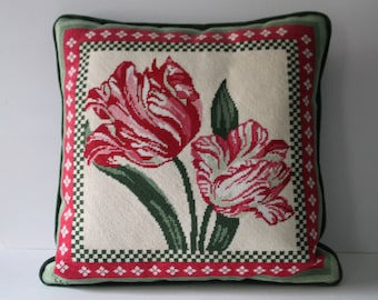 Vintage Green & White Holiday Christmas Xmas Needlepoint Pillow