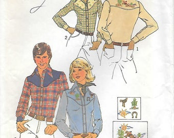 Simplicity 7051 1970s Cowboy Shirt with Embroidery Transfer Vintage Sewing Pattern Chest 38-40