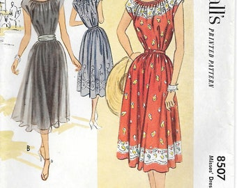 Size 14 UNCUT-McCalls 8507 1950s Lovely Peasant Dress Vintage Sewing Pattern Bust 32