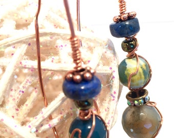 Copper Threader earrings, faceted agate stones, lapis lazuli stones, Wirewrapped copper earrings