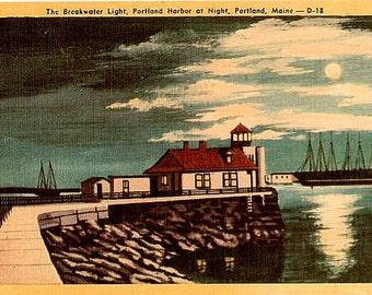 Vintage Maine Postcard - Portland Breakwater Light by Moonlight (Unused)