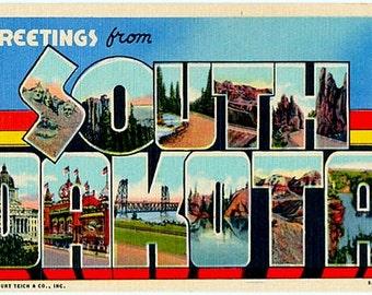 Vintage South Dakota Postcard - Greetings from South Dakota (Unused)