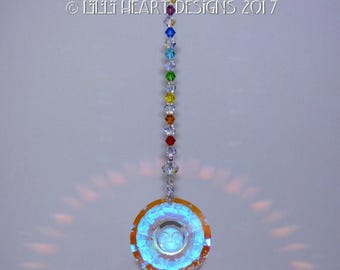 m/w Swarovski Crystal 40mm Aurora Borealis Faceted Sun Disk SunFace with AB and Chakra Strand Suncatcher by Lilli Heart Designs