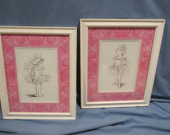Fairy Pictures Ink Drawing White Framed with Glass
