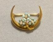 RESERVED Antique Victorian 14kt Gold Crescent Pin with Blue Enameled For Get Me Not Flowers and Pearls