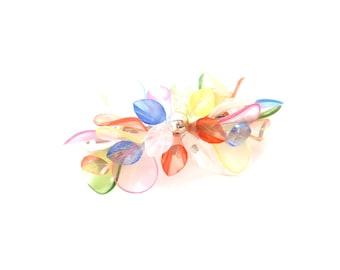 Rainbow / Multicolor / Colorful Lucite / Plastic Signed Korea Vintage Silver Tone Metal Hair Barrette / Hair Clip