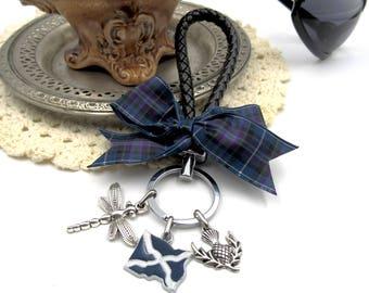 NEW Dark Blue Purple Tartan Black Lanyard - Keychain - Dangling Scottish Flag, Dragonfly & Thistle Charms