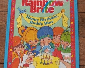Vintage 80s childrens picture book RAINBOW BRITE Happy Birthday Buddy Blue children boy girl