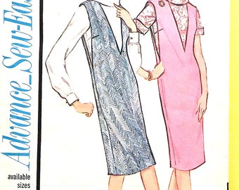 1960s Advance Sew-Easy 3432 jumper and blouse deep V-neck Vintage Sewing Pattern  Bust 34