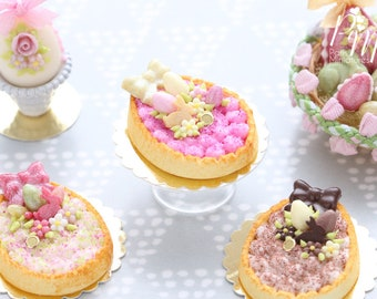 Egg Shaped Easter Cream Tart Decorated with Easter Eggs, Bunny Candy, Blossom - White Chocolate - Miniature Food in 12th Scale for Dollhouse