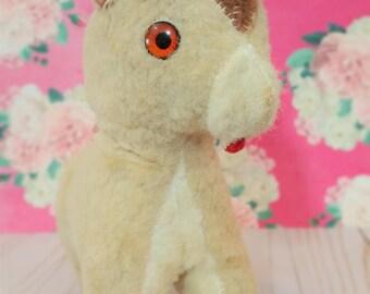 Vintage mohair Donkey plush Suffed Animal toy Horse Mule
