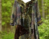 Refashioned green brown Tunic, boho lagenlook Dress, patchwork shabby top, hippie art to wear, OOAK plus size. Size XLarge. Ready to ship