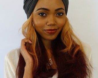 Turban Hat Charcoal Gray Womens Turban Cloche Stretch Turban Cap Cotton Jersey - Choose Your Color