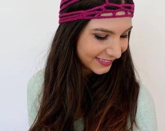 Wide Headband Cage Goddess Head Wrap Cotton Headband Bohemian Head Wrap Crochet Headband Handmade Fuschia Pink - or Choose Color