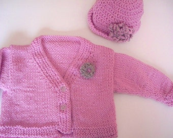 Dusty Pink Cardigan Set with crocheted flowers