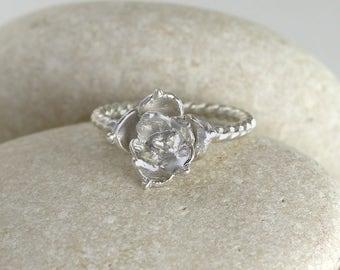 Succulent Flower Ring II in Sterling Silver, Silver Rose Ring, Ornate Flower Ring