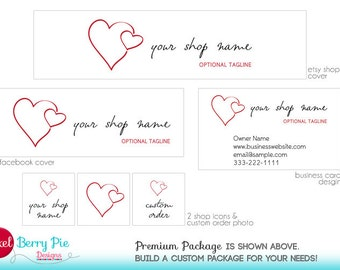 Clean, Sophisticated Valentine Hearts // Etsy Shop Banner Branding Package // Happy Valentine's Day!