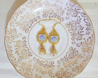 EBBA Powder Blue Flower and Pearl Drop Earrings, Bridal Earrings, Something Blue, Garden Wedding, Vintage Wedding, Gold Earrings, Bridesmaid