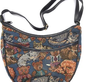 Vintage CAT And BEARS Tapestry Purse /