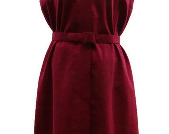 Vintage Faux Suede Dress Vintage Sleeveless Dress Vintage Button Up Dress Vintage Retro Dresses Burgundy Dresses Long Ladies Vintage Dresses