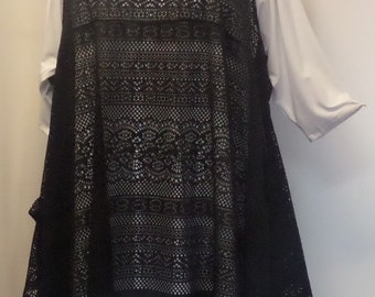 Coco and Juan, Plus Size Top, Lagenlook, Layering, Plus Size Tunic Top, Black Lace, Size 1, Fits 1X,2X  Bust to 50 inches