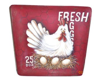 Fresh Eggs Sign With Chicken Hand Painted on Square Wood Plate