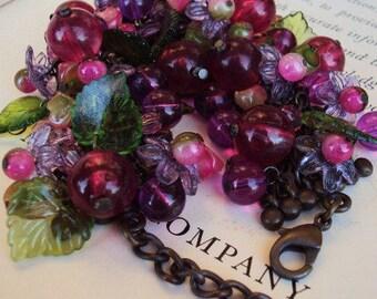 Vintage Charm Bracelet Glass Beaded Fruit Lucite Leaves Leaf Flowers Plum Purple Antique Brass Statement Jewelry Costume Wide Bracelet