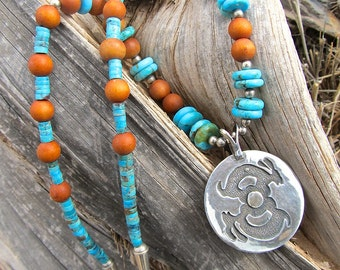 Southwestern Sterling Jackrabbit Necklace w Turquoise and Sandalwood