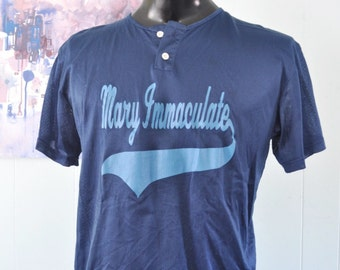 Vintage Mesh Jersey Mary Immaculate Softball Baseball Tee Church TShirt navy blue Number 38 MEDIUM