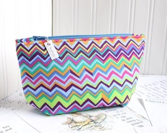 Bright Colorful Chevron Cosmetic Bag Makeup Bag Neon  Zipper Pouch Organizer ZigZag Print