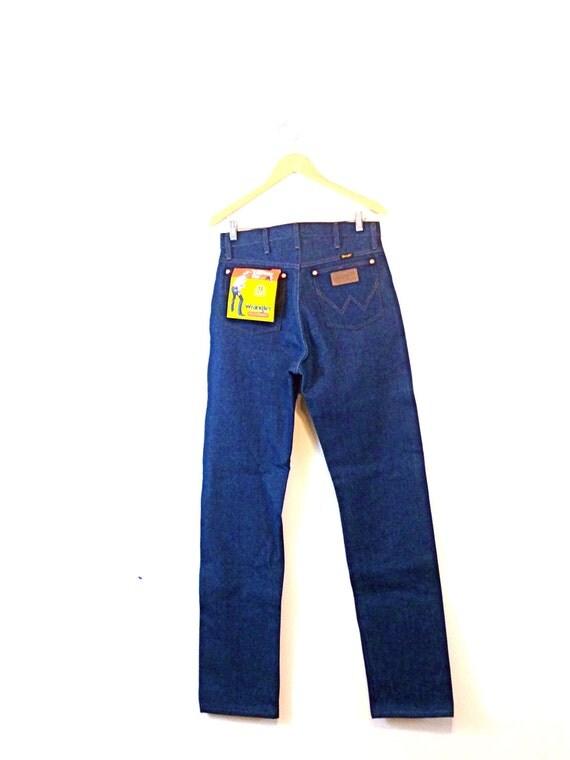 "Vintage 70s Wrangler ""Cowboy Cut"" Jeans NOS Heavyweight Denim Original Fit 13 mwz Dark Blue Jeans High Rise Waist Unisex Tall Long 31 x 36"