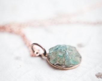 Raw Apatite Necklace Boho Pendant Rose Gold Mint Blue Necklace christmas gift modern raw minimalist jewelry