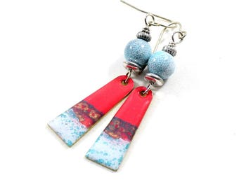 Blue Red White Boho Chic Earrings, Paint and Resin Earrings, Artisan Earrings, Boho Earrings,Silver Earrings, Summer Earrings,  AE229