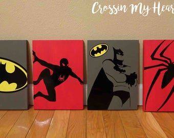 Super Hero Wood SIgns - Batman, Spiderman, Mod, Boys room, Bedroom, Toy room