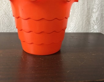 Vintage Glass Scalloped Planter Ruffled Fluted Fired On Orange