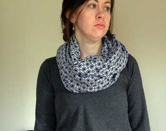 Blue Polka Dot Sweater Knit Infinity Scarf Handmade in the USA