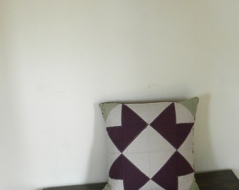 Ribbon Star 16x16 Hemp Linen Pillow Cover with pillow included
