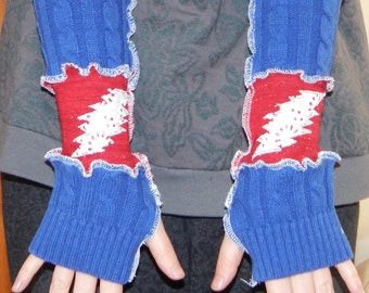 Grateful Dead Arm Warmers US Blues 13 pt Bolt Lace Fall Christmas