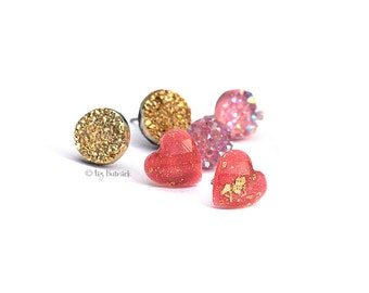 Valentine's Day Stud Earrings, 3 Pair Set.  Pink Glitter Hearts, Faux Pink and Gold Druzies on Titanium Posts