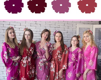 Berry Tones Wedding Color Bridesmaids Robes - Premium Rayon Fabric - Wider Belt and Lapels - Wider Kimono sleeves